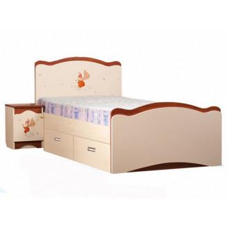 Кровать Феи в облаках 2 ящика 90*190 Крем + яблоня шоколад Вальтер