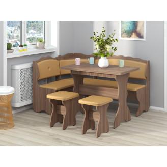 Кухонный уголок Цезарь с раскладным столом  +  2 табурета Пехотин